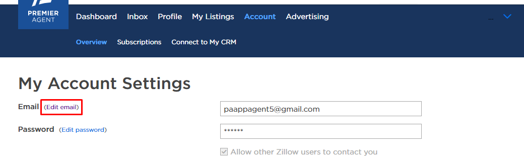 How do I change the primary email address on my Zillow Group account