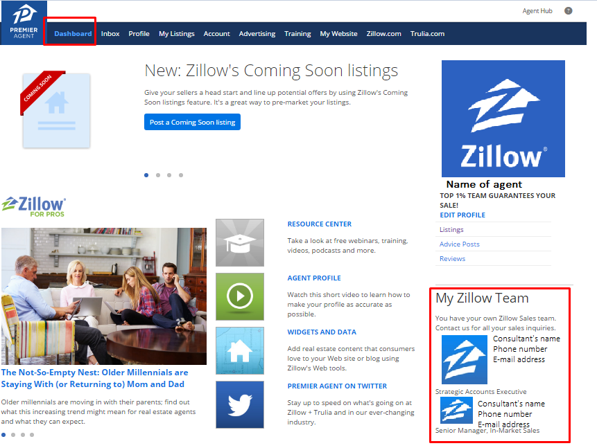 How do i contact my premier agent business consultant or for Call zillow